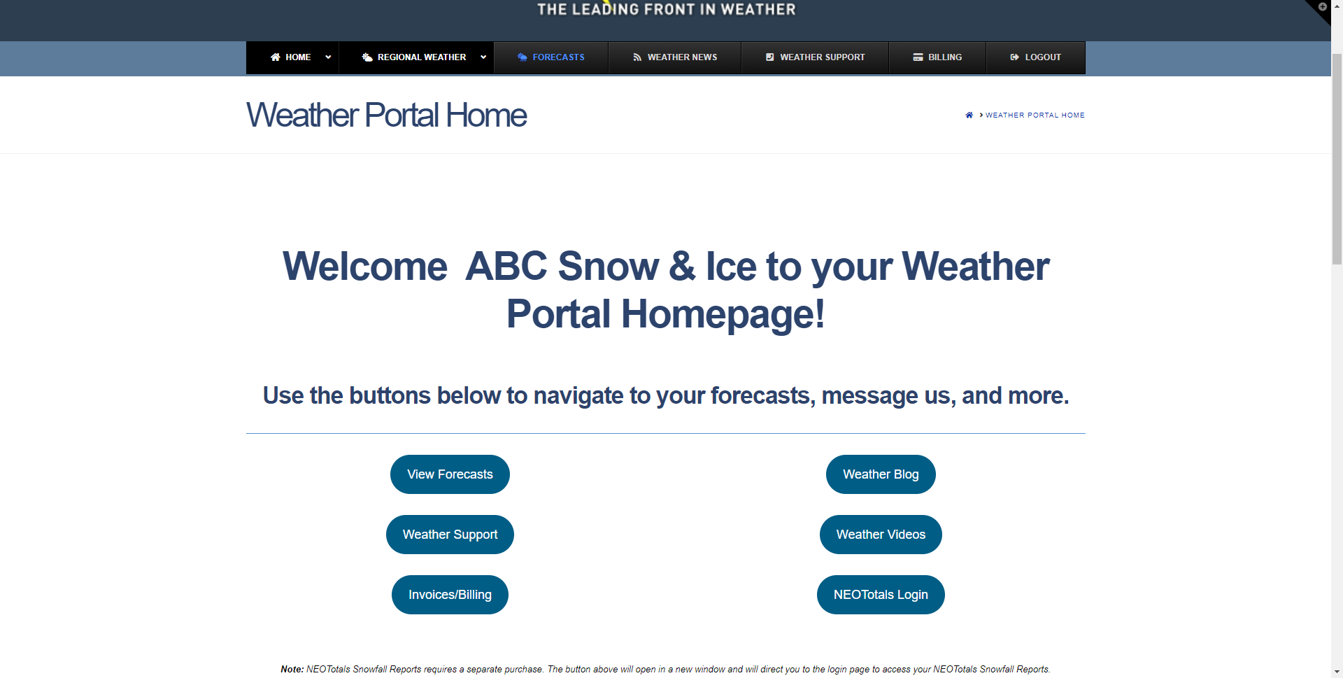 New for 2020 – Weather Portal